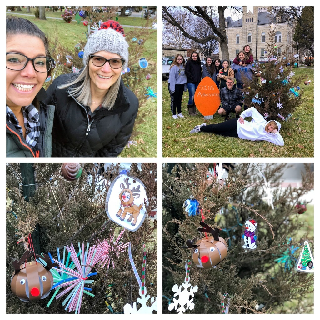students decorating tree on courthouse square