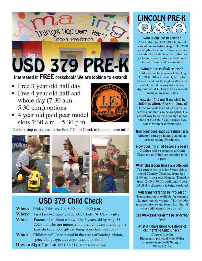 USD 379 Pre-K Child Check