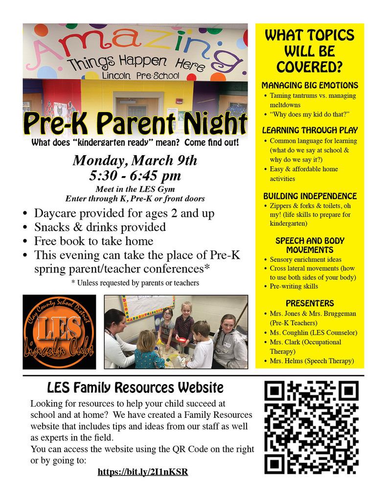 Pre-K Parent Night March 9th